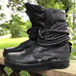 Nike Black Air Force One 1 SF High Top Shoe Boot